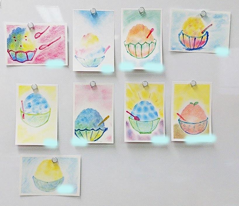 かき氷を描いた3色パステルアート