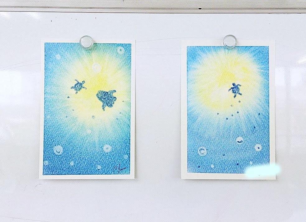 海底からの眺めを描いた3色パステルアート
