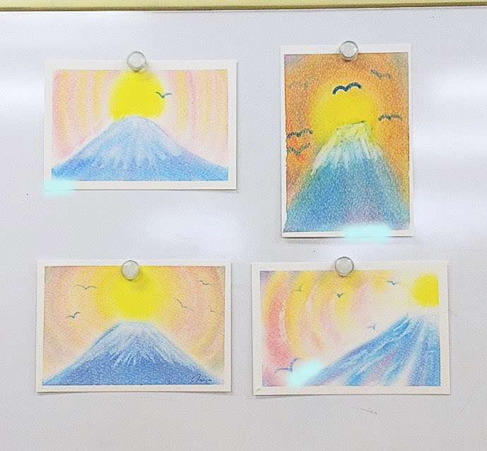 ダイヤモンド富士を描いた3色パステルアート