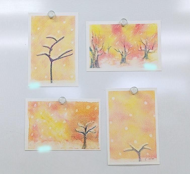 雪積もる木を描いた3色パステルアート