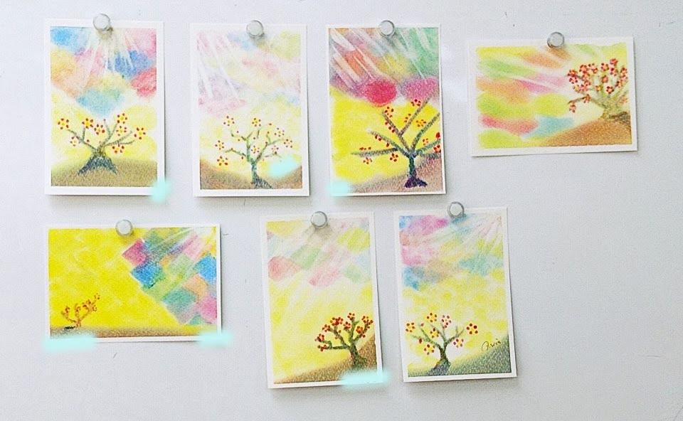 梅の木を描いた3色パステルアート