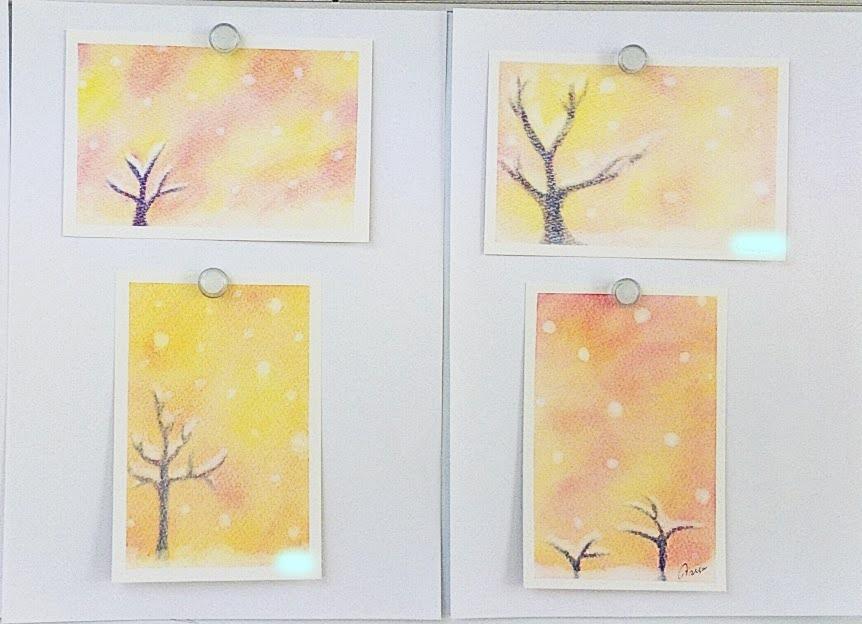 雪つもる木を描いた3色パステルアート
