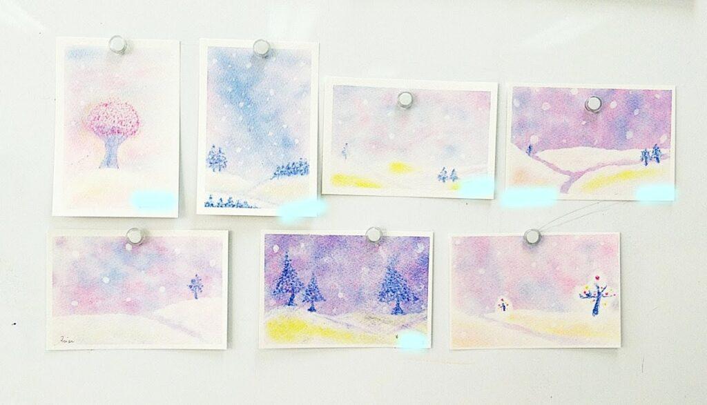 雪の丘を描いた3色パステルアート